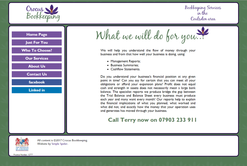 Image of the Crocus Bookkeeping website