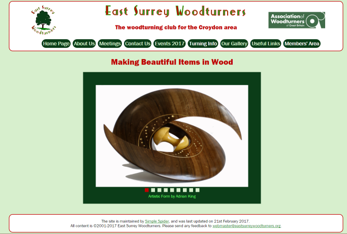 Image of the East Surrey Woodturners website