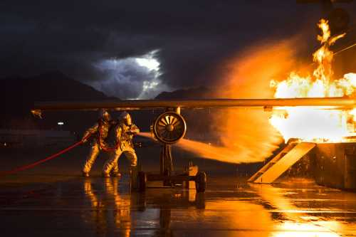 Image of fire-fighting in the dark