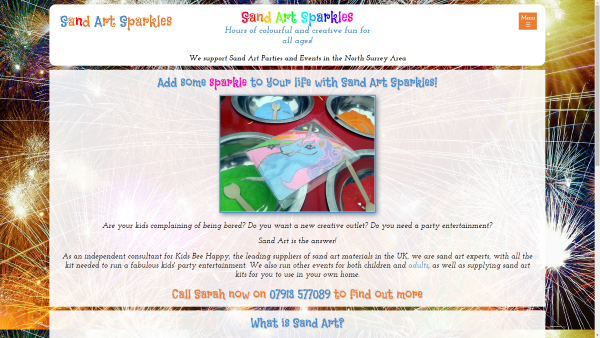 Image of the Sand Art Sparkles website